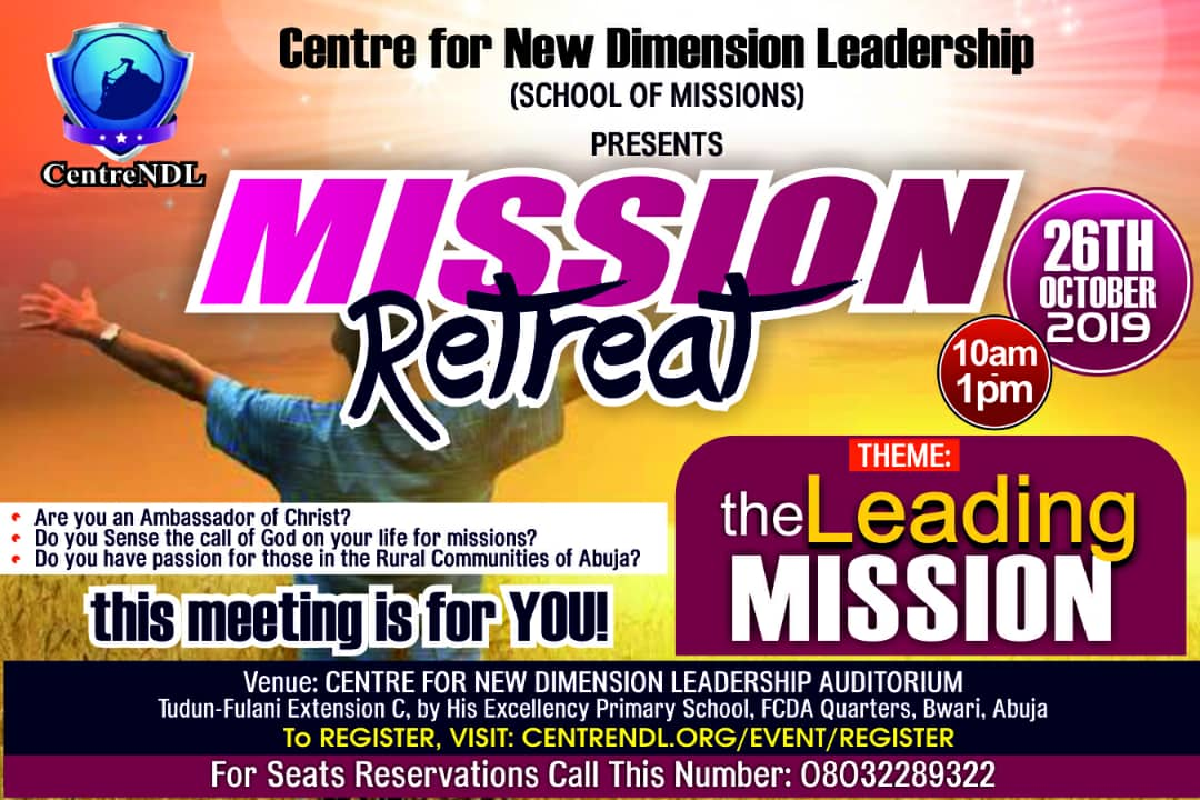 Centre for New Dimension Leadership New Event October 26, 2019